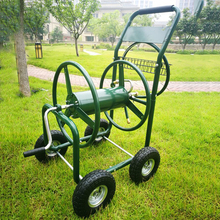 Portable mobile garden hose reel cart for yard plant watering