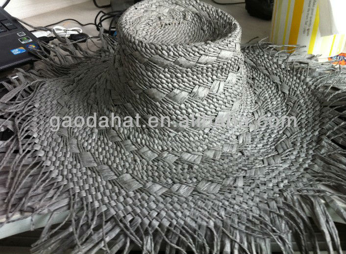 White color wide brim Knitted paper hats body