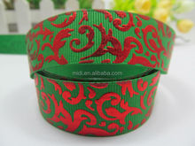 New design hot selling green color grosgrain christmas ribbon