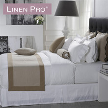 High quality hotel bed sheets 50% cotton 50% polyester+jacquard hotel bedding set sheet percale sheet