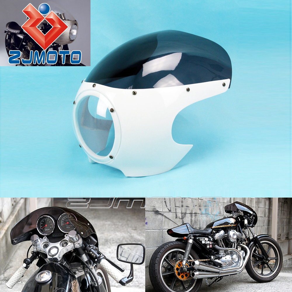 "ZJMOTO 5 3/4"" ABS Front Head Light Fairing Bright White+Smoke Motorcycle Headlight Fairings Fit To Harley Custom Cafe Racer"