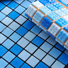 20x20mm swimming pool blue glass mosaic swimming pool tile blue