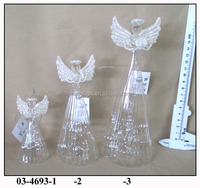 Hand Blown Hanging Glass Clear Angel inside with silver decoration