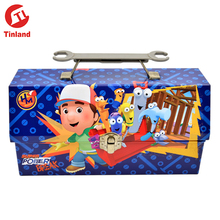 irregular cartoons blue color tin lunch box have a handle with a lock