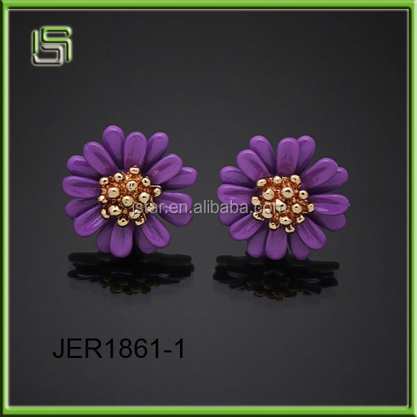 Wholesale new style fashion stud multicolor flower earrings