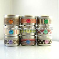 Scented soy wax candle in travel tin