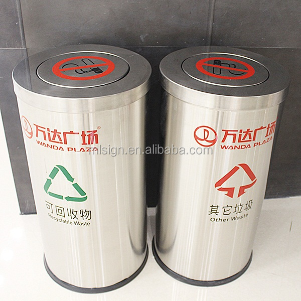 cylindrical recycle public wastes bin with cover