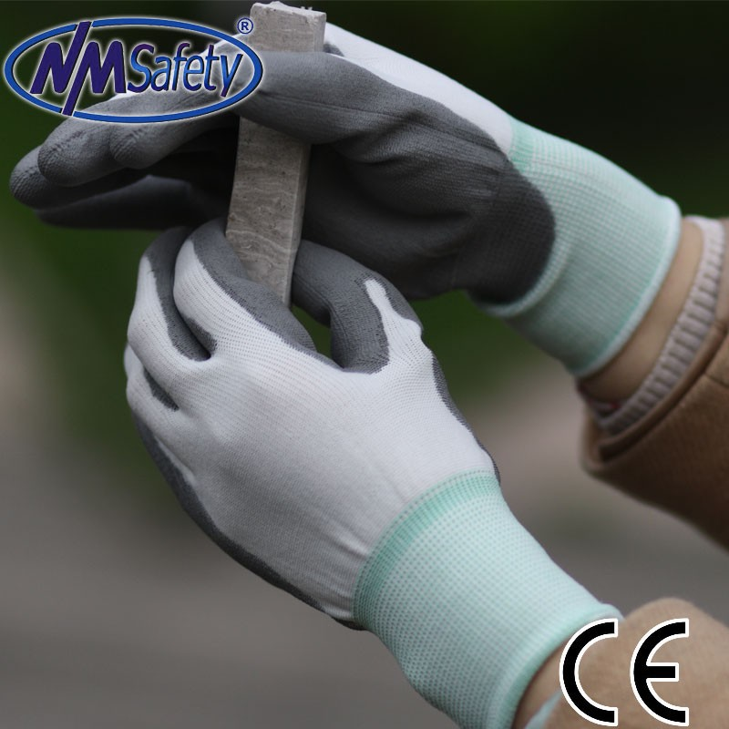 NMSAFETY 13-Gauge PU Coating Washable Gloves, Salt and Pepper