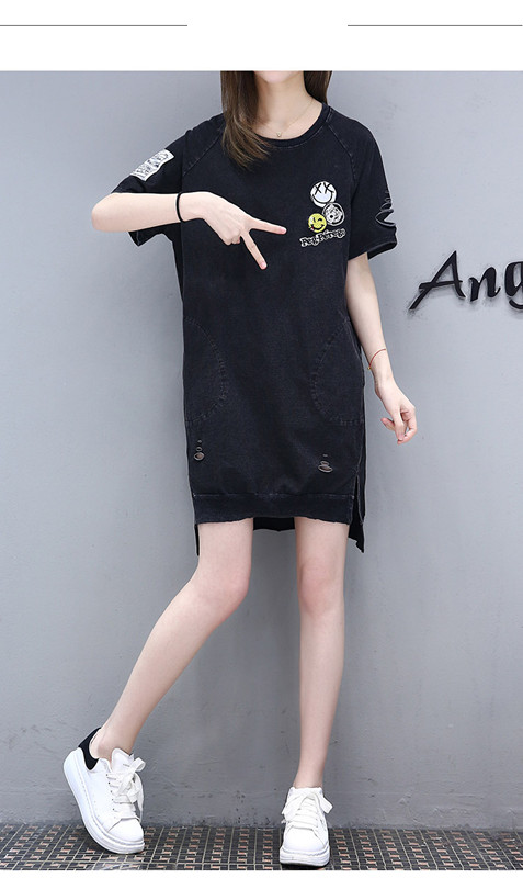 Casual pure color jumper dress for girls ragged jeans style latest blouse designs for back women plus size