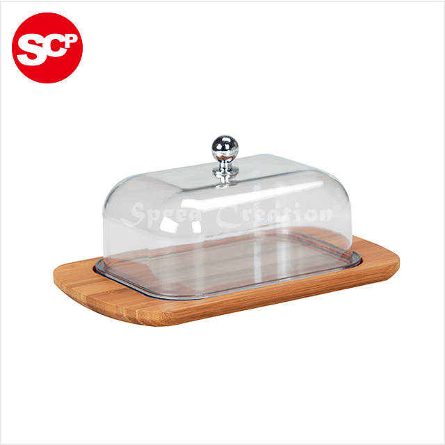 clear AS cover bamboo plate butter holder butter dish plate