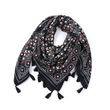 New women soft feeling fashion scarf shawl square cotton tassels printed floral lady square Viscose scarf