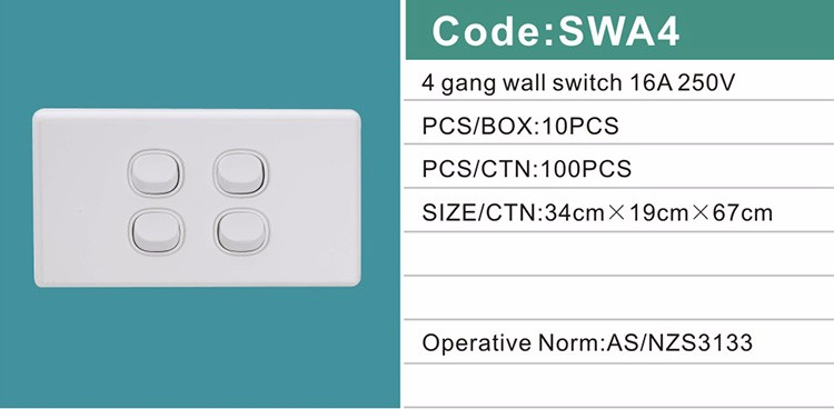 SAA 10A16A 250V australia standard light switch