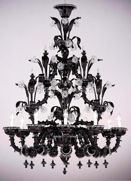 Modern fancy big murano glass black chandelier