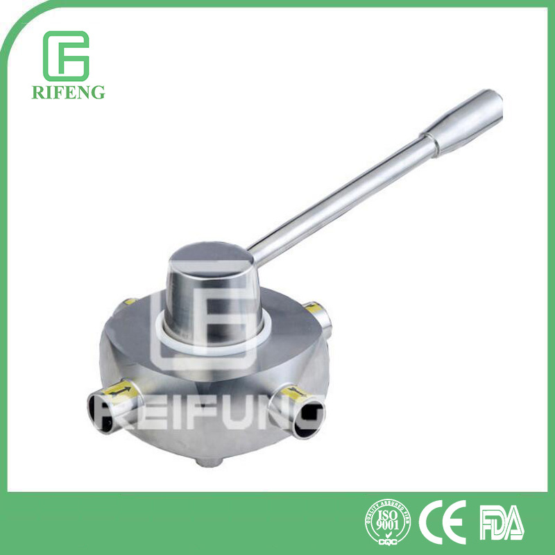 Sanitary Stainless Steel Four Way Welded Plug Valve for gas and oil hand operated