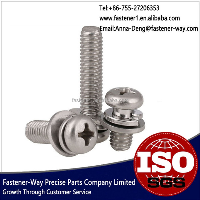 Stainless Steel Screws Philips Pan Head Screws With Washer Attached
