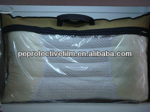 PVC clear plastic pillow storage bag with zipper and non woven handles