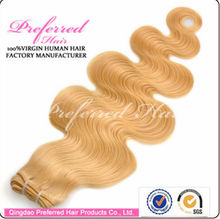 Factory price and high quality hair weaving remy russian blonde hair extensions