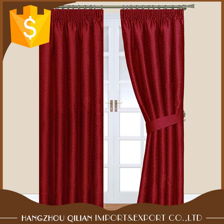 Red 100% Polyester Crinkle Effect Textured Jacquard Design Pencil Pleat Lined Curtains