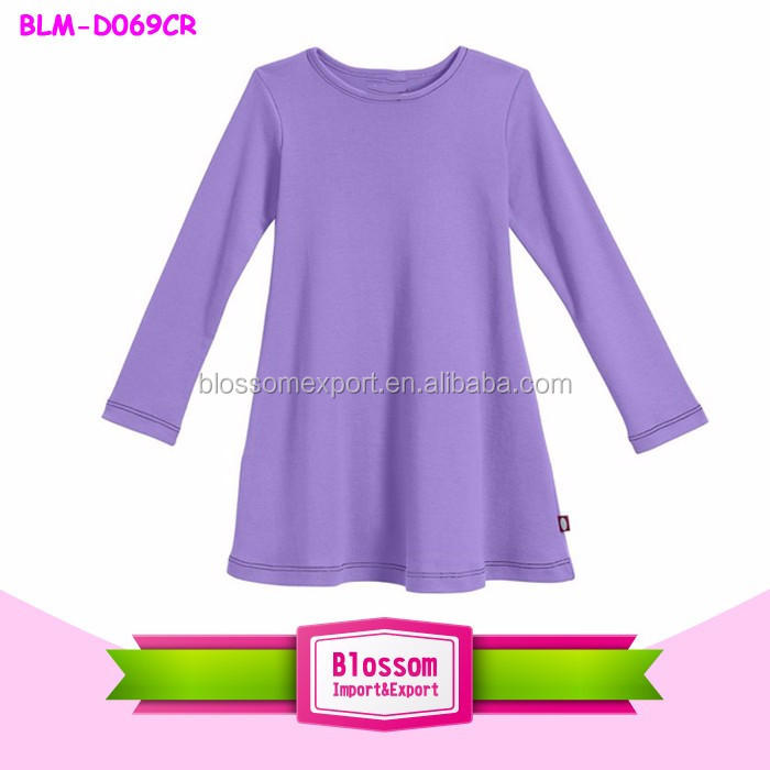 Big Girls' Super Soft Cotton Pink Long Sleeve baby girl cotton dresses wholesale