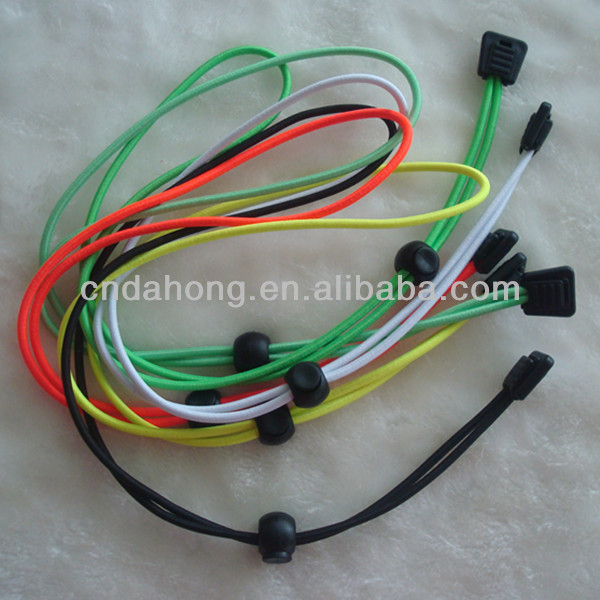 Fashion colored round safty elastic shoelace with plastic lock