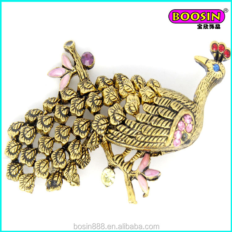 Factory price custom alloy gold plated fancy peacock brooch pins with rhinestone #5227