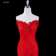 2017 Hot sales classical red backless evening mermaid wedding dress with lace and ruffles