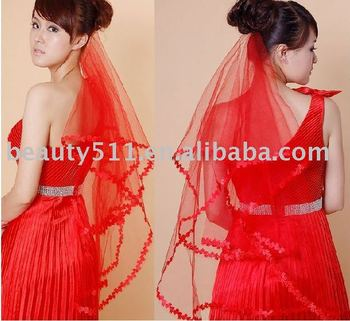 hot sale red lace wedding veil VG048