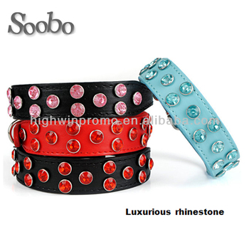 fashion Diamond Studded Leather Dog Collar With Nice Colour