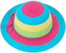 Paper Straw Braid Beach Wide Brim Hat for Girls