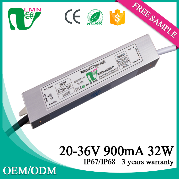 Best selling 36v dc 900mA 32W waterproof led driver IP67