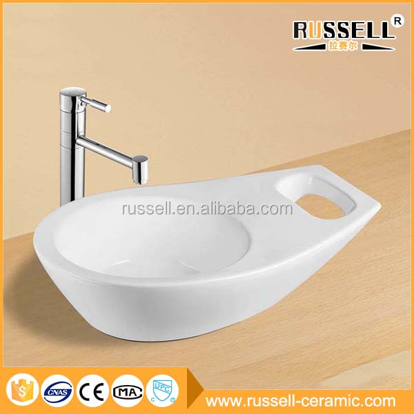 White artistical modern ceramic corner bar sink
