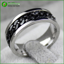 Stainless steel central chain index finger ring