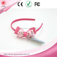 pink metal kids children headband with bows