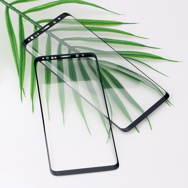 Mobile phone 3D curved full cover s9 full glue glass S9 Plus case friendly Screen Protector black