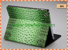 For ipad 2/3/4 Custom made leather case with Ostrich lines