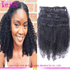 "Wholesale factory price 10-30"" afro kinky curly clip in hair extensions virgin brazilian clip in hair extension"