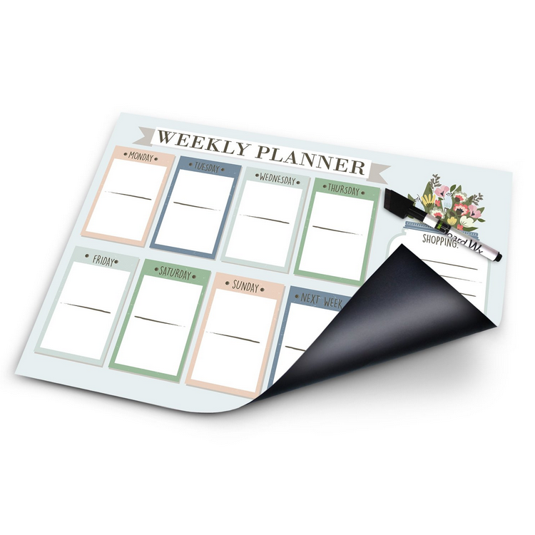Magnetic Weekly Planner for Fridge At a Glance Family Calendar with Dry Erase Marker 17 x 12 Inches