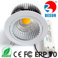 360 degree rotatable Ra>82/90/95 3000/4000/6000K Fire rated 30watt COB led downlight