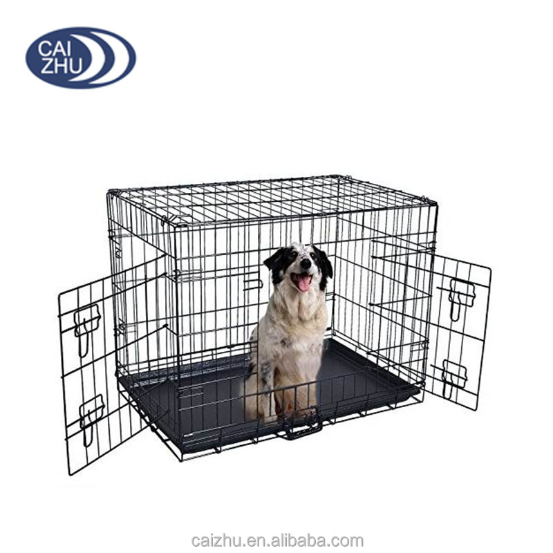 "19"" 24"" 30"" 36"" 42"" 48"" Inch 2 Doors Folding Suitcase Dog Cat Crate Cage Kennel With ABS Tray"
