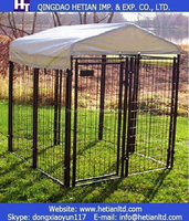 Black Powder Coated Welded Wire Panel Outdoor Modular Dog Kennel
