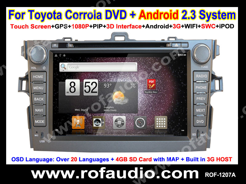 2.3 Version Android Toyota Corolla Car Audio DVD FM/RDS/TV/GPS /Touch screen/3G/WIFI
