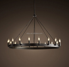 Contemporary Modern American Vintage Antique Style Black Wrought Iron Round Chandelier For Bedroom