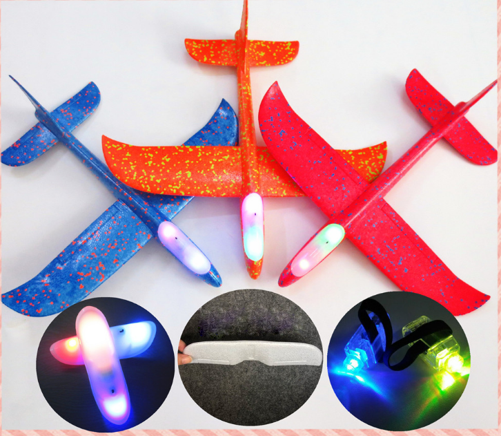 EPP flying hand throwing airplane plane model glider toys for KIDS diy with Led flash light