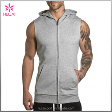 Wholesale Custom Grey Men's Zipped Hooded Sleeveless Hoodie, Slim Fit Elasticated Cuffs Hood Full Zip