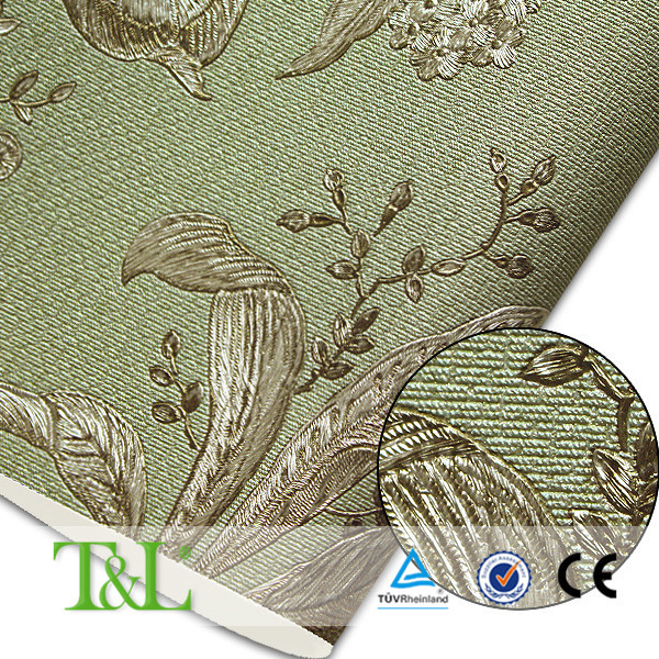 Italian classic design heavy embossed vinyl wallpaper for A t design decoration co ltd