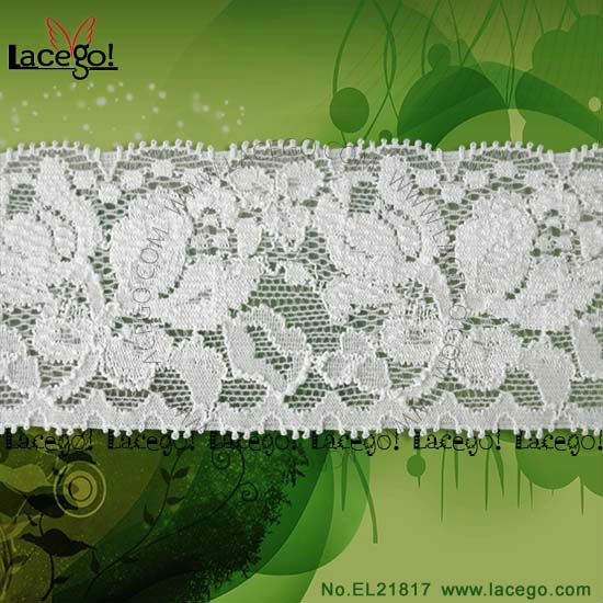 In Stock Nylon Spandex Stretch White Lace Ribbon
