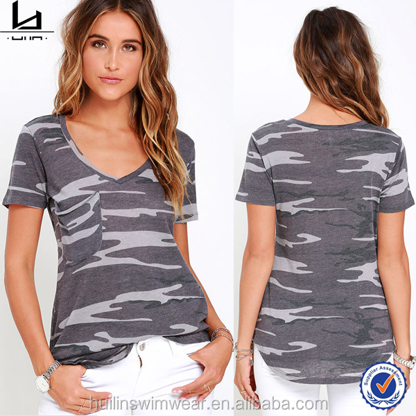 100% polyester summer short sleeve Raw ponch pocket Deep v camo custom sublimation women t shirt