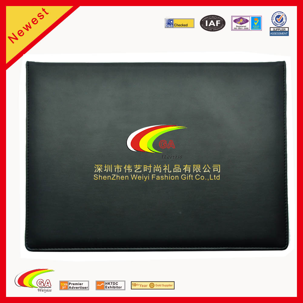 2016 wholesale foldable A4 leather velvet certificate diploma holder file folder in black color