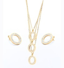 Stainless steel gold routine circular Full of diamonds three layers Necklace set