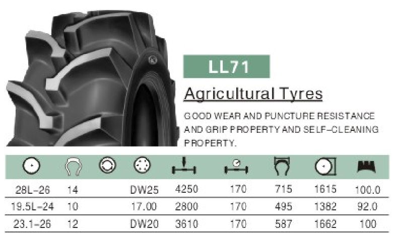 Good multiple function Linglong Agricultural Tyre 28L-26 19.5L-24 23.1-26